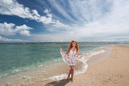 A woman enjoying time at beach