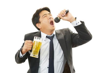 salaried worker: Man drinking beer Stock Photo