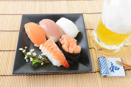 sushi and beer photo