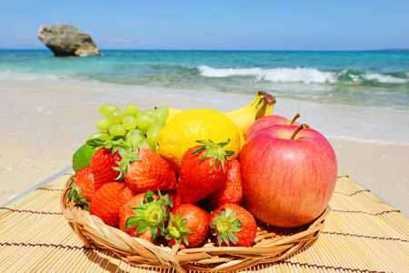 Fresh variety fruits in a basket photo