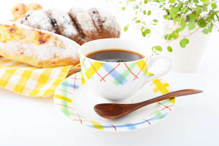 bakery products: Coffee with breads Stock Photo