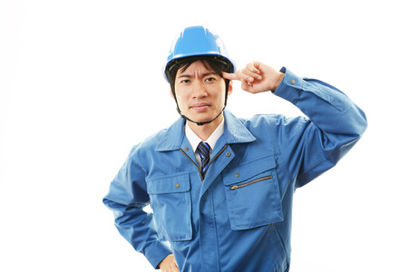 Worker having a headache photo