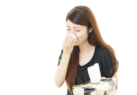 facial tissue: Woman with a bad cold