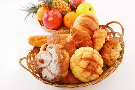 Fresh fruits with breads photo