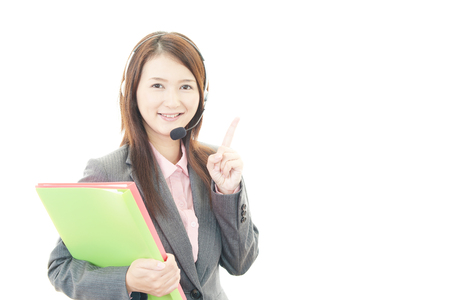 Smiling customer services operator photo