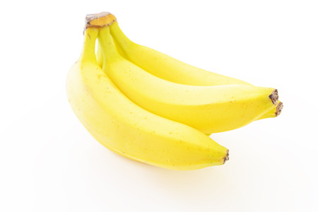 ripened: Fresh bananas isolated on white Stock Photo