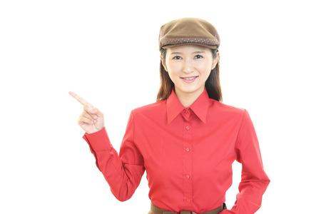 Smiling young waitress photo