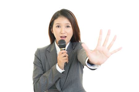 Surprised Asian business woman photo