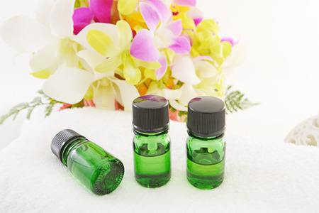 Bottles of Essential Oil for Aromatherapy Spa photo