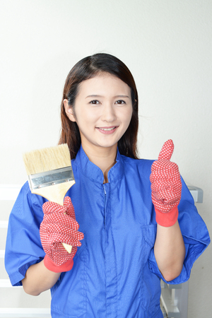 Smiling female worker photo
