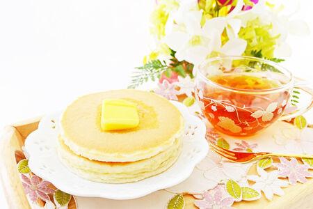 Delicious Pancakes with tea photo