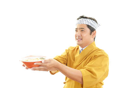 asian chef: Smiling Asian chef
