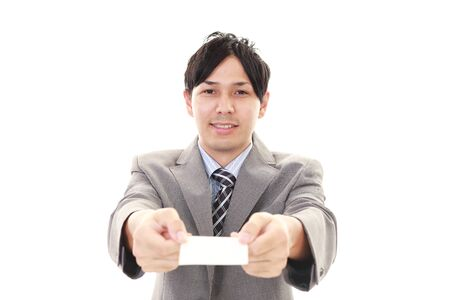 salaried worker: Business card exchange Stock Photo