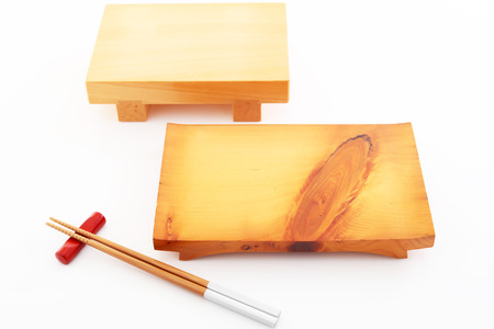 Japanese tradition tools, wooden plate for sushi Фото со стока