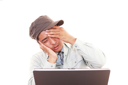 nespokojen: Nespokojený Asian pracovník