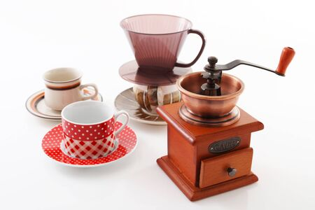 coffee cups: Coffee mill and cups Stock Photo