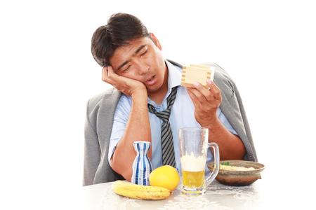 depressed person: Portrait of a drunken man