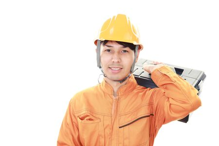 white back ground: An asian worker on white back ground Stock Photo