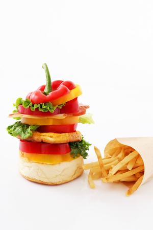 vegetarian hamburger: Hamburger with french fried Stock Photo