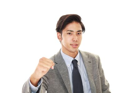 isolation: Businessman enjoying success
