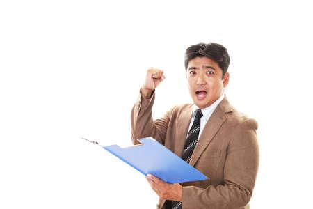 winner man: Businessman enjoying success