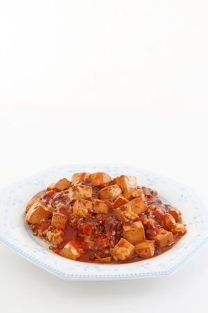 carne picada: Cocina china, queso de soja y carne picada con salsa picante