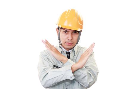 interdiction: Travailleur asiatique montre le signe de l'interdiction Banque d'images