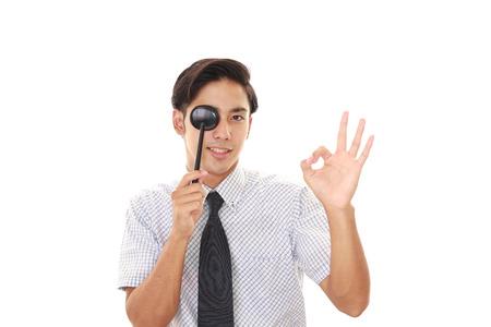 eye test: Man taking an eye test
