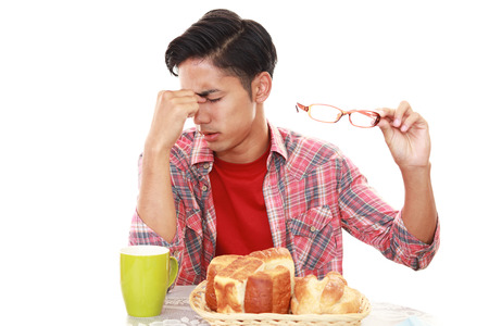 tired person: Man has no appetite
