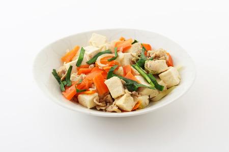 okinawa: Cuisine-Tofu Okinawa Chanpuru Stock Photo