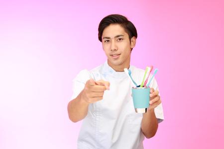 oral communication: Smiling dental hygienist