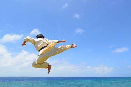 One karate kata training man Stock Photo