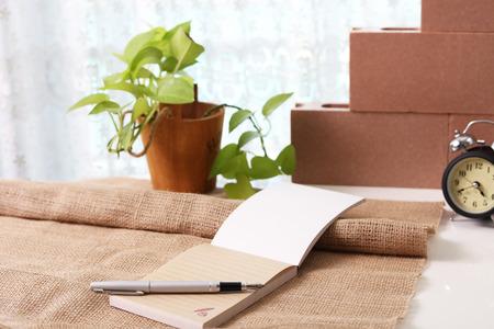 Memo pad with pen Stock Photo