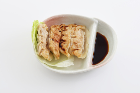 Pan fried dumplings Stock Photo