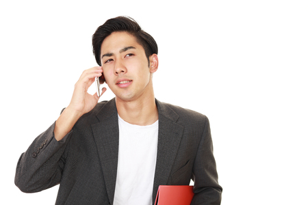 liveliness: Man who is talking on a smart phone