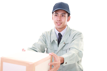 liveliness: Smiling delivery man