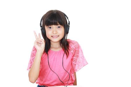 Girl listening to music Stock Photo