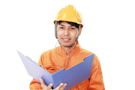 liveliness: Smiling Asian worker