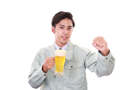 Portrait of a drunk man on white background