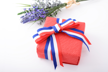 Luxury gift box with ribbon Stock Photo