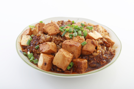 bo: Chinese cuisine, tofu and mince with hot spicy sauce