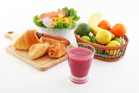 Assorted breads and fruit