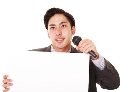 Portrait of a businessman doing a presentation Stock Photo