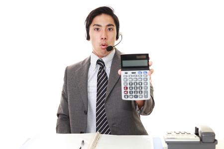 tired businessman: Surprised telephone operator