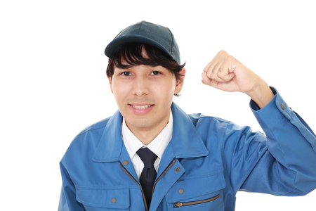 Smiling Asian worker
