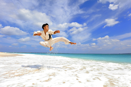 One karate kata training man Stock Photo