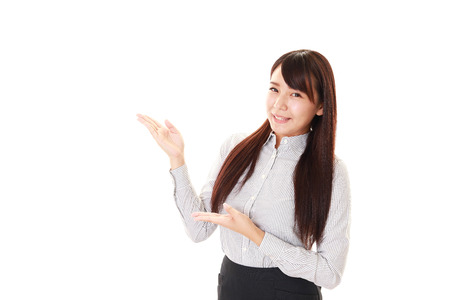 Business woman shows the way