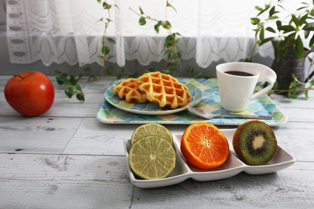 Healthy and tasty breakfast on the dining table.