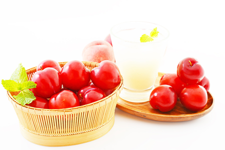 Fresh fruits and a glass of juice