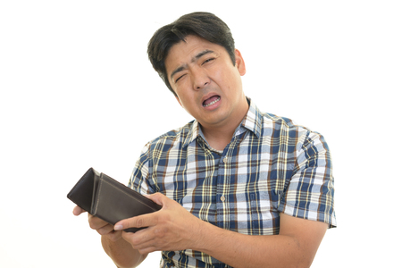 Disappointed Asian man with a wallet